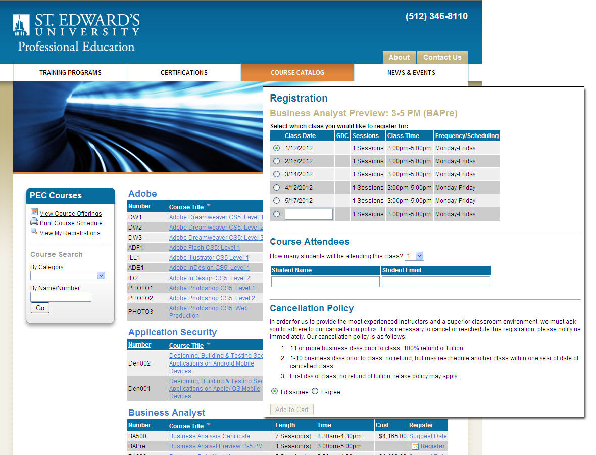 St. Edwards PEC Course Catalog <small>Application</small>